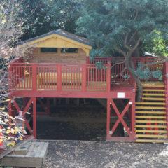 幼稚園の園庭にできた「みんなのログ・プレイハウス」 砂場と自然と一体化した木製遊具(東京都 文京区)